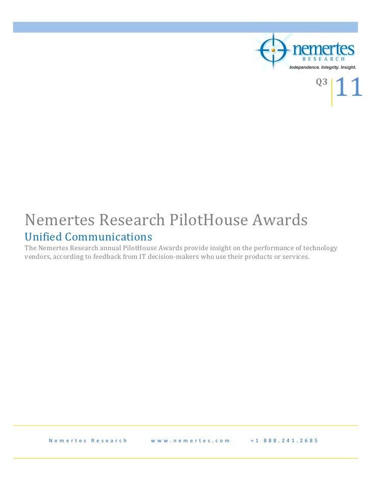 Nemertes Pilot House Awards UC 2011 12
