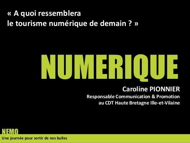 NUMERIQUE Une journée pour sortir de nos bulles NEMO Caroline PIONNIER Responsable Communication & Promotion au CDT Haute ...