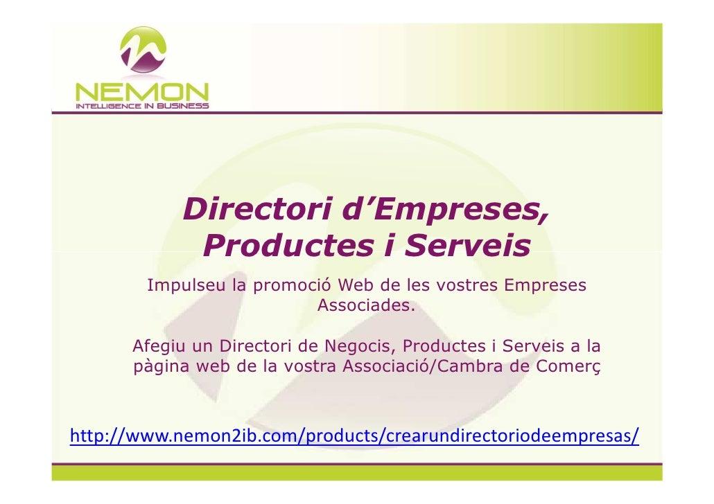 Directori d'Empreses,             Productes i Serveis        Impulseu la promoció Web de les vostres Empreses             ...