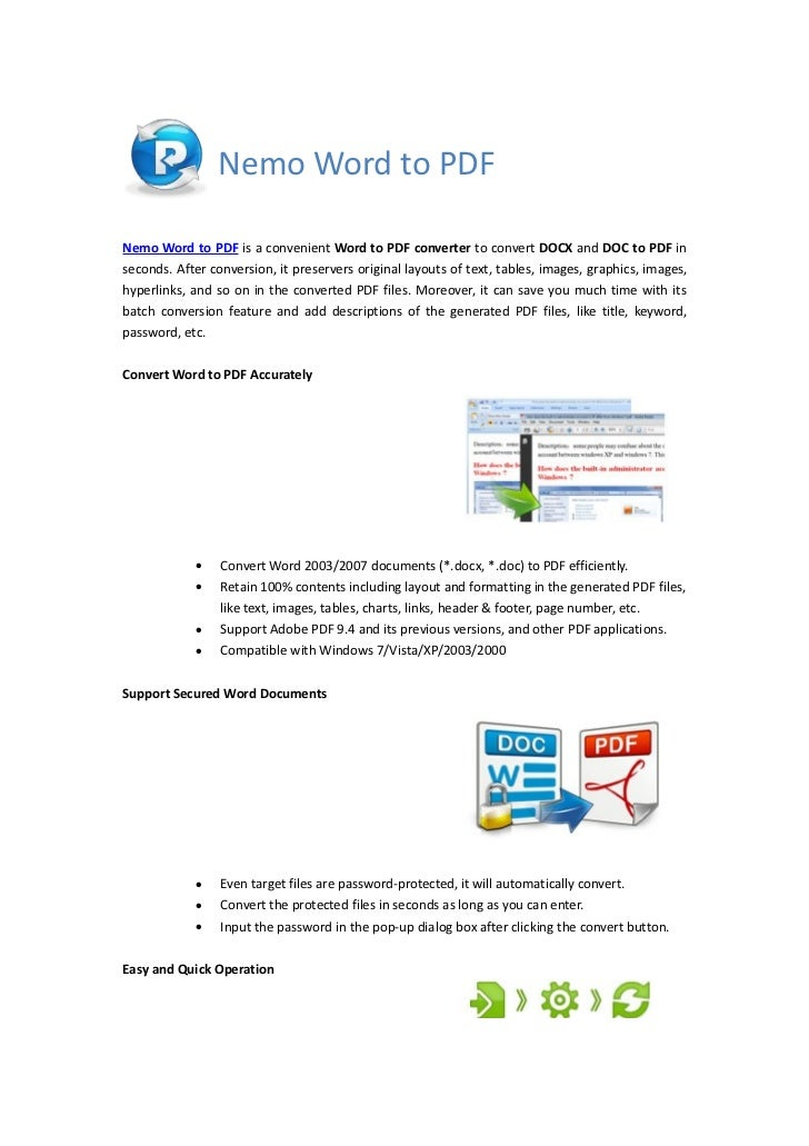 Nemo Word to PDFNemo Word to PDF is a convenient Word to PDF converter to convert DOCX and DOC to PDF inseconds. After con...