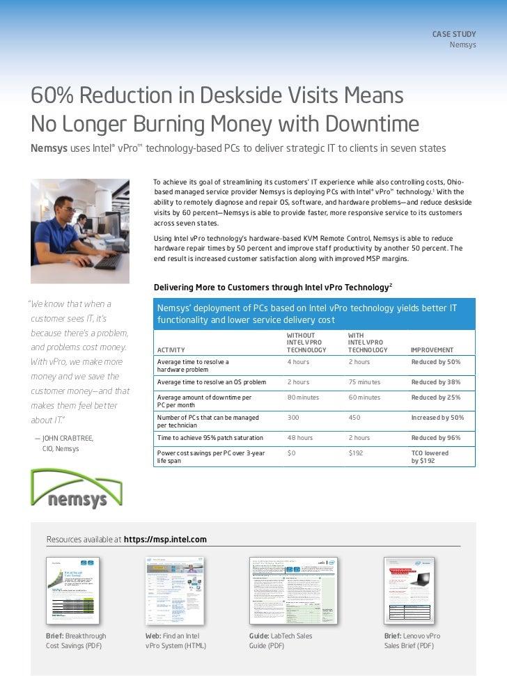 Nemsys and Intel vPro Technology-based PCs: 60% Reduction in Deskside Visits