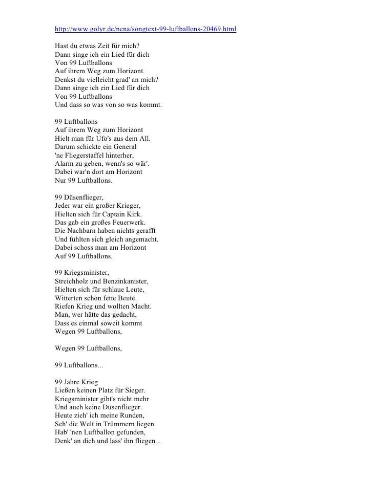 Neunundneunzig Luftballons Lyrics In German