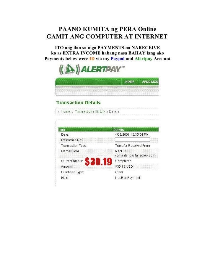 PAANO KUMITA ng PERA Online GAMIT ANG COMPUTER AT INTERNET      ITO ang ilan sa mga PAYMENTS na NARECEIVE    ko as EXTRA I...