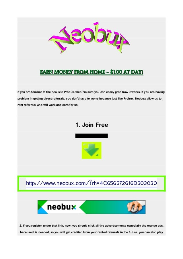 EARN MONEY FROM HOME - $100 AT DAY!EARN MONEY FROM HOME - $100 AT DAY! if you are familiar to the new site Probux, then i'...