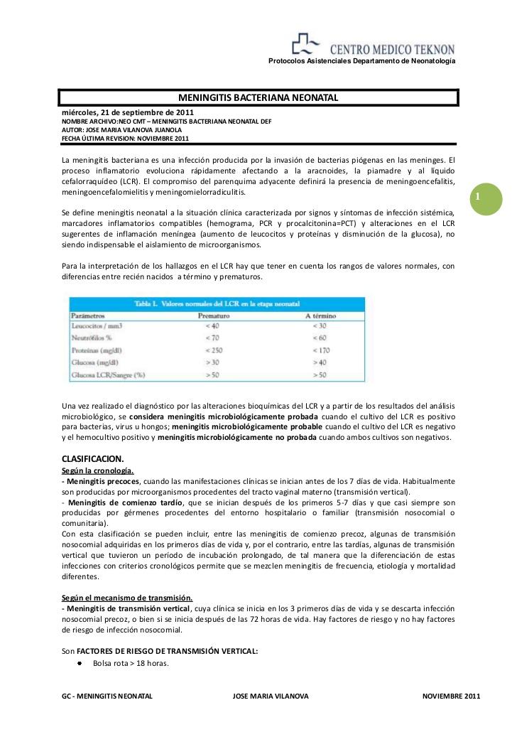 Neo cmt gc meningitis bacteriana neonatal def