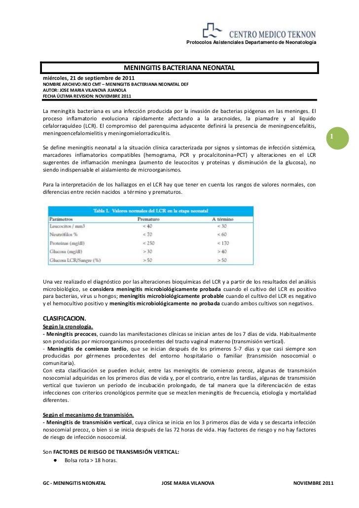 Protocolos Asistenciales Departamento de Neonatología                                  MENINGITIS BACTERIANA NEONATALmiérc...