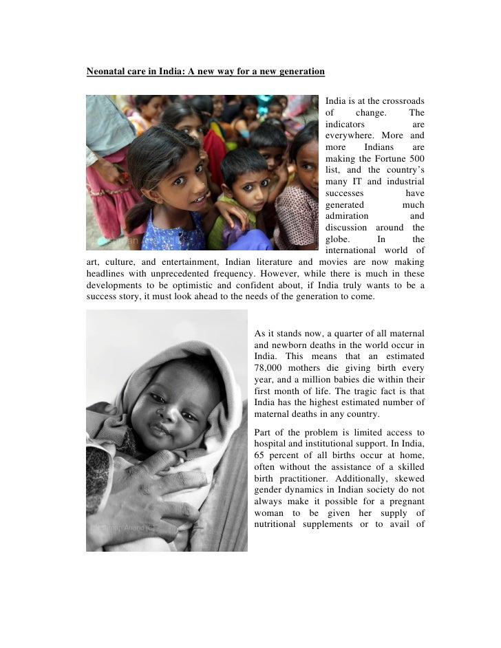 Neonatal care in India: A new way for a new generation                                                               India...