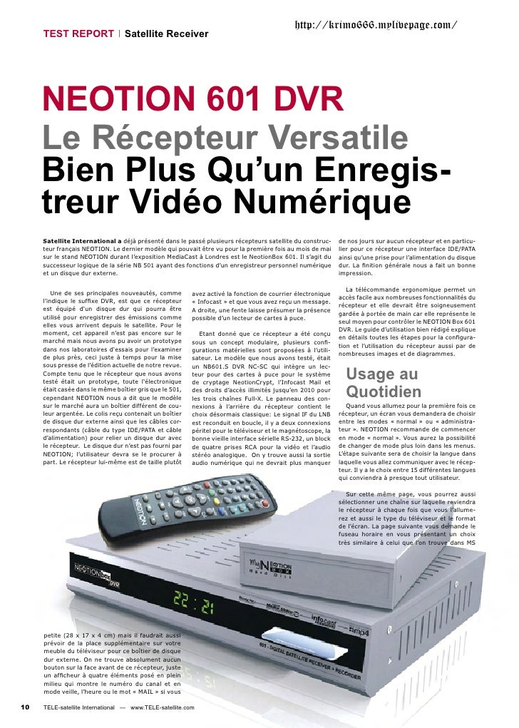 http://krimo666.mylivepage.com/     TEST REPORT                 Satellite Receiver     NEOTION 601 DVR     Le Récepteur Ve...