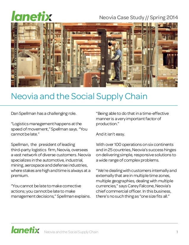 """Neovia and the Social Supply Chain Dan Spellman has a challenging role. """"Logistics management happens at the speed of move..."""