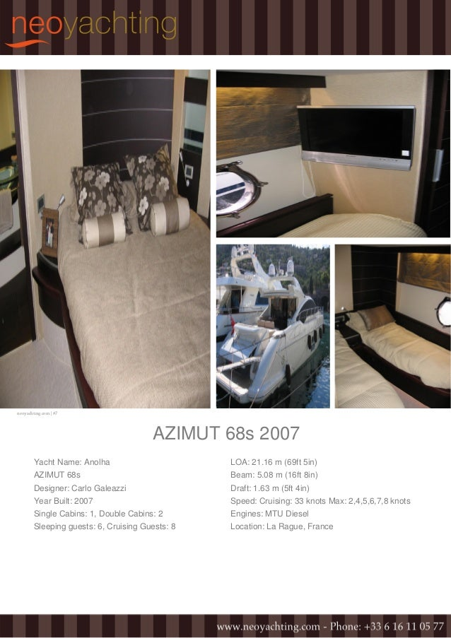neoyachting.com | #7 AZIMUT 68s 2007 Yacht Name: Anolha AZIMUT 68s Designer: Carlo Galeazzi Year Built: 2007 Single Cabins...