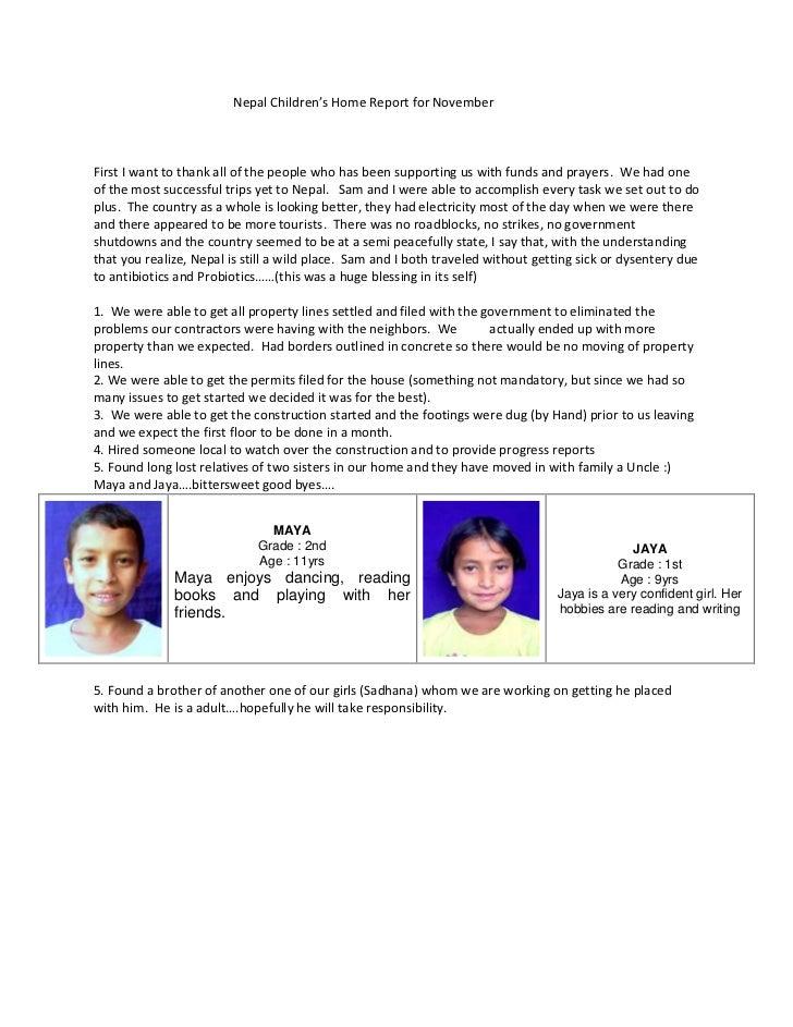 Nepal Children November Report