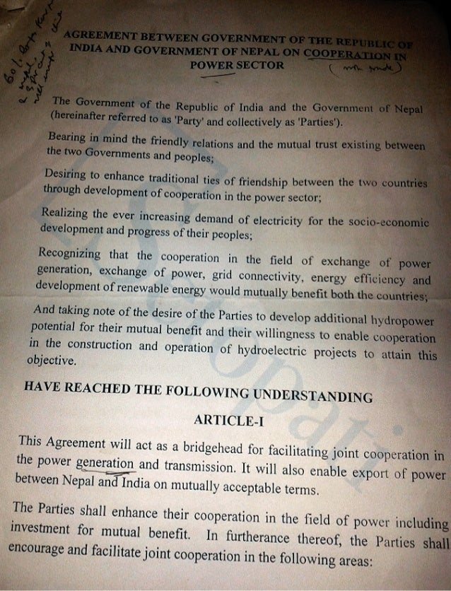 Nepal india power trade draft agreement proposed by india 2014