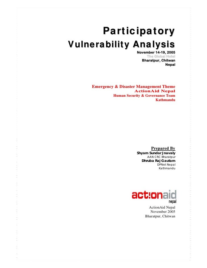 Participatory Vulnerability Analysis                          November 14-19, 2005                              The Global...