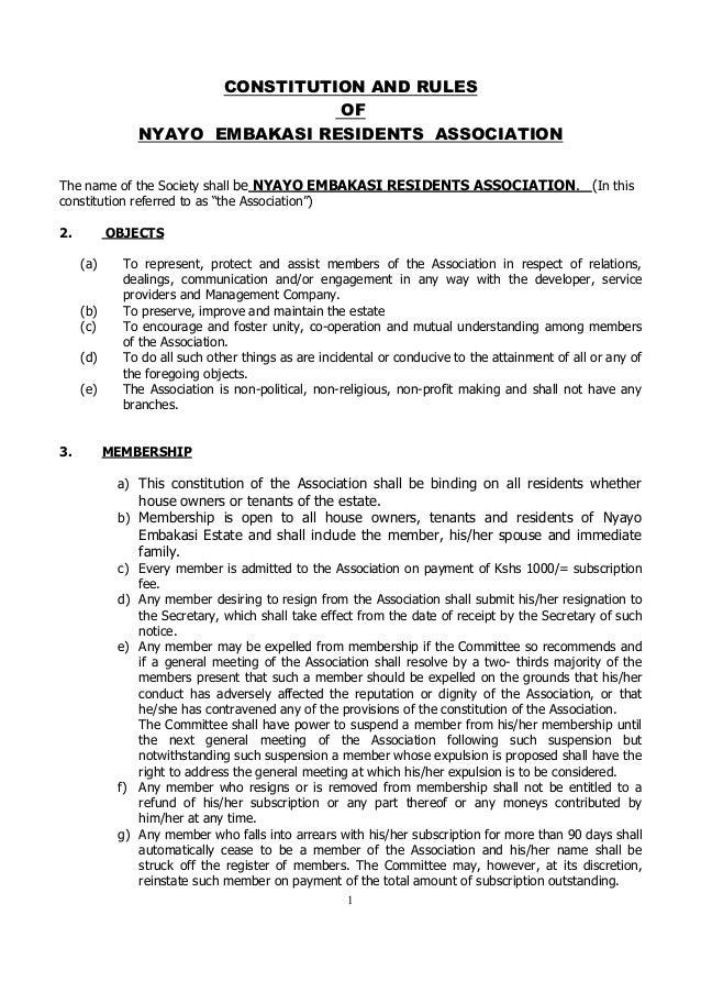NERA's Constitution