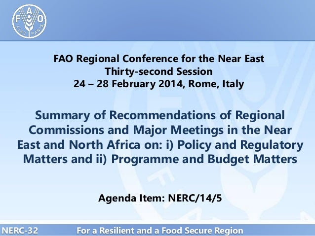 Summary of Recommendations of Regional Commissions and Major Meetings in the Near East and North Africa on: i) Policy and Regulatory Matters and ii) Programme and Budget Matters