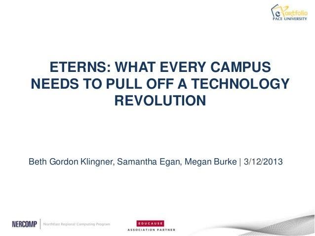 ETERNS: WHAT EVERY CAMPUSNEEDS TO PULL OFF A TECHNOLOGY          REVOLUTIONBeth Gordon Klingner, Samantha Egan, Megan Burk...