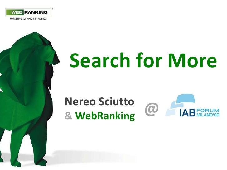 Search for More Nereo Sciutto &  WebRanking @