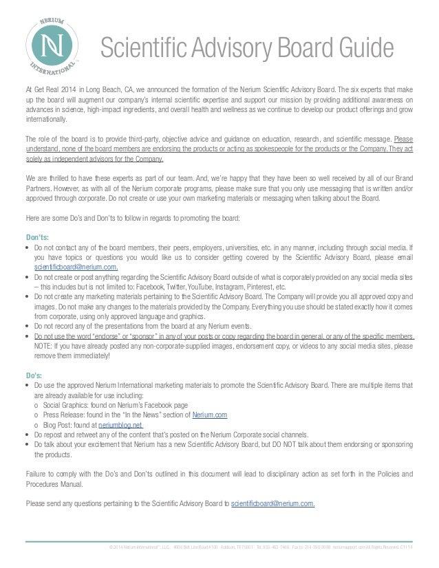 Nerium Scientific Advisory Board Guide