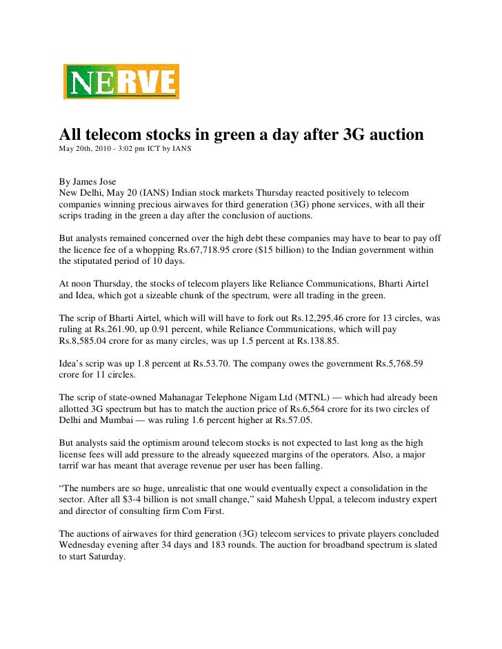 Nerve News 20 May 2010 All telecom stocks in green a day after 3G auction