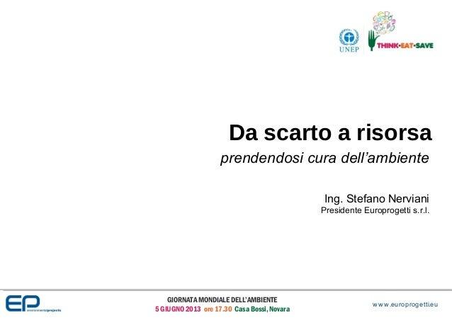 GIORNATA MONDIALE DELL'AMBIENTE5 GIUGNO 2013 ore 17.30 Casa Bossi, NovaraDa scarto a risorsaprendendosi cura dell'ambiente...