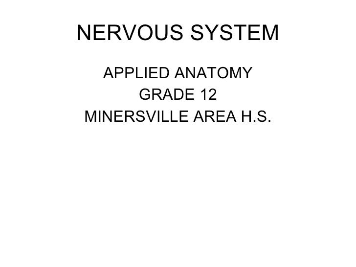 NERVOUS SYSTEM <ul><li>APPLIED ANATOMY </li></ul><ul><li>GRADE 12 </li></ul><ul><li>MINERSVILLE AREA H.S. </li></ul>