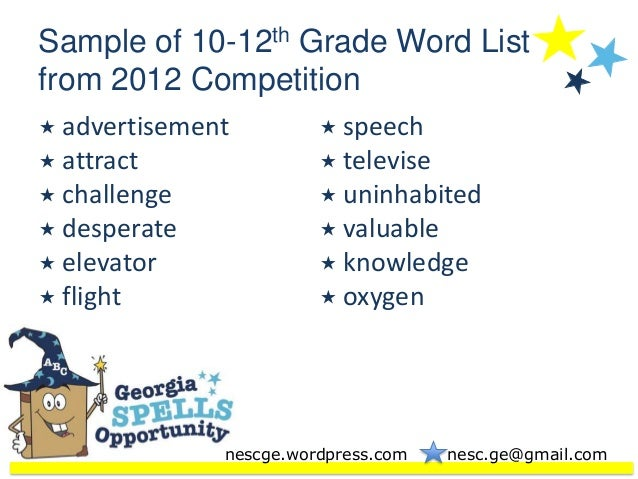 12th Grade Spelling Words List Sample of 10-12th Grade Word