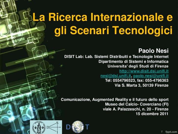Augmented Reality: la ricerca internazionale e gli scenari tecnologici