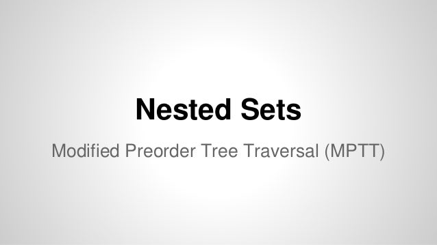Nested Sets Modified Preorder Tree Traversal (MPTT)