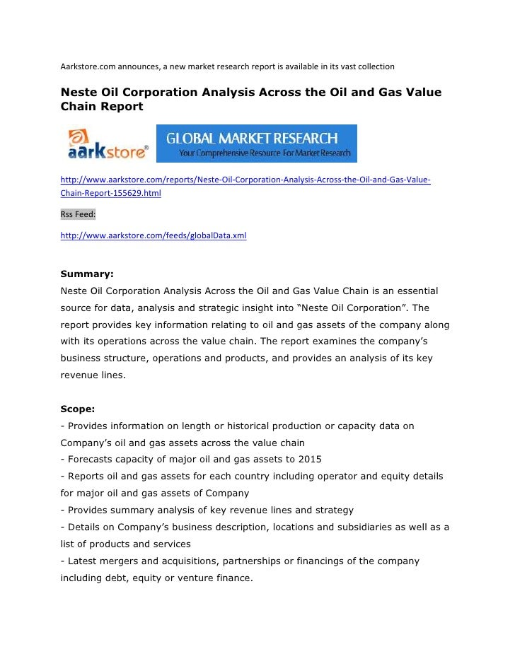 Neste oil corporation analysis across the oil and gas value chain report