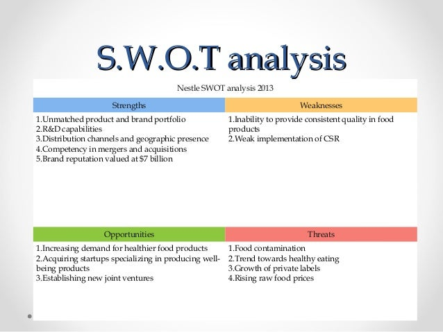 swot analysis nestle We do a swot analysis of nestle, to get a better perspective of the strengths, weaknesses, opportunities and threats to this popular food brand.