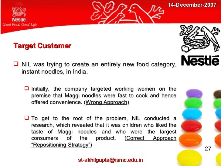target market of maggi Overview a digital marketing strategy is the content plan that ensures any digital marketing efforts are tailored to your target audience, in order to maximise return on investment.
