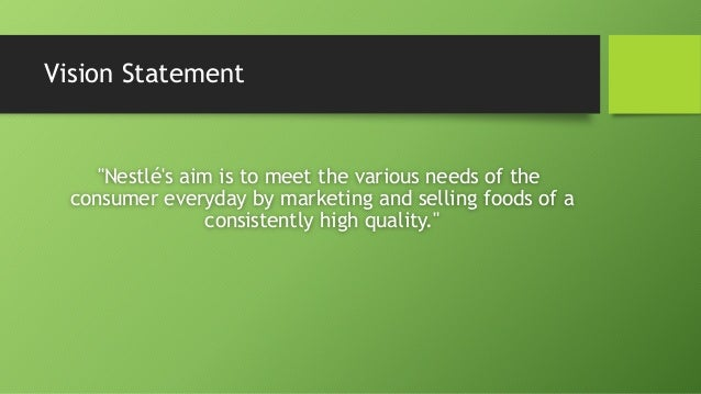 vision statement of nestle company