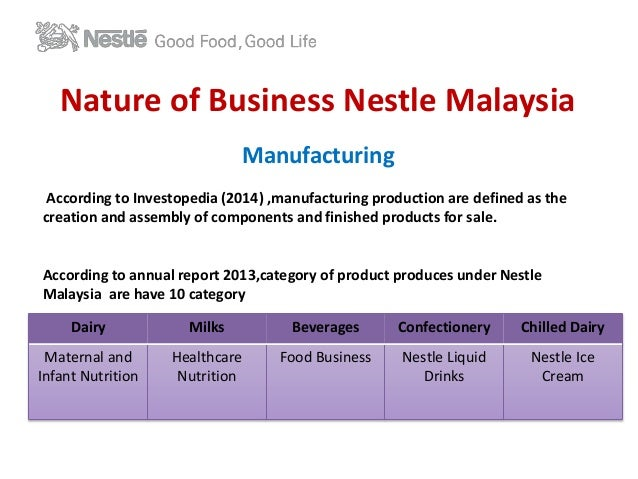 mission and vision of nestle company Innovating for the future research and development is a key competitive advantage for nestlé with 29 research, development and technology facilities worldwide, nestlé has the largest r&d network of any food company.