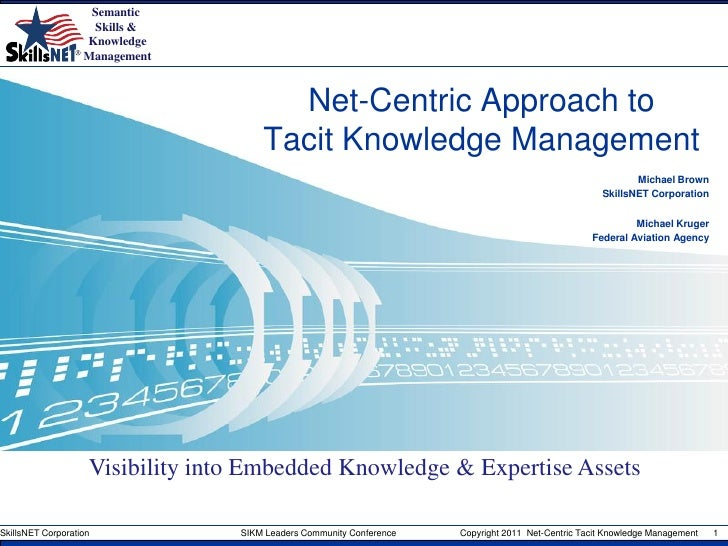 Net-centric tacit knowledge management