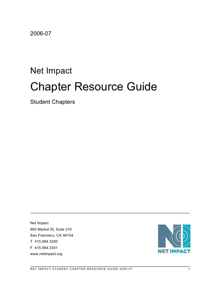 Net Impact Chapter Guide Students 2006 07