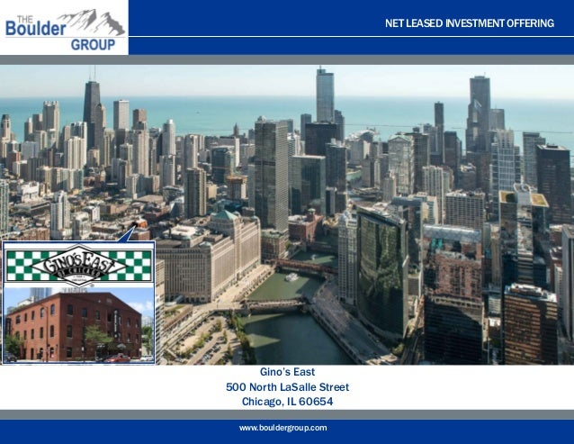 NET LEASED INVESTMENT OFFERING www.bouldergroup.com Gino's East 500 North LaSalle Street Chicago, IL 60654