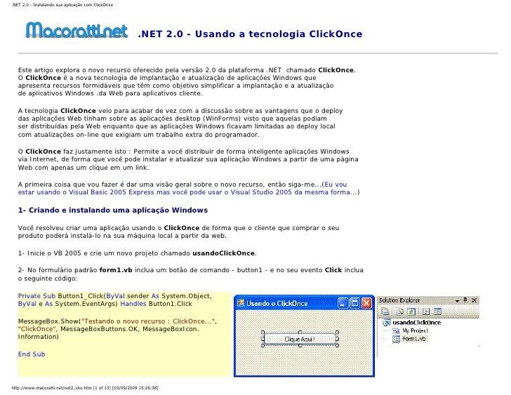 .NET 2.0 - Instalando sua aplicação com ClickOnce                                                                .NET 2.0 ...