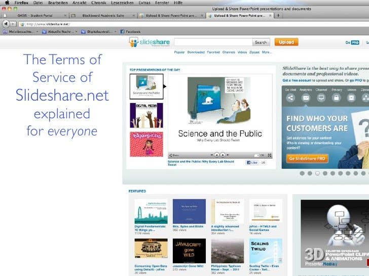 The Terms of  Service ofSlideshare.net  explained for everyone