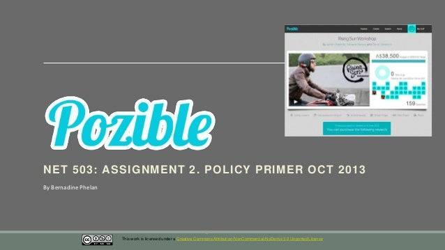 NET 503: ASSIGNMENT 2. POLICY PRIMER OCT 2013 By Bernadine Phelan  This work is licensed under a Creative Commons Attribut...