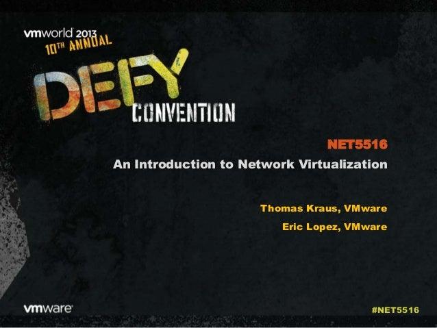 An Introduction to Network Virtualization Thomas Kraus, VMware Eric Lopez, VMware NET5516 #NET5516