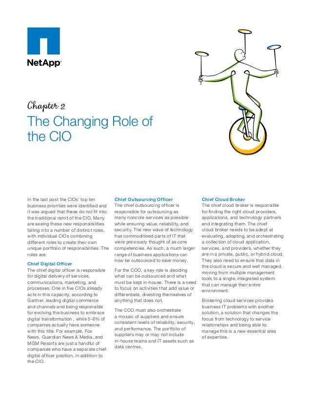 Chapter 2 The Changing Role of the CIO In the last post the CIOs' top ten business priorities were identified and it was a...