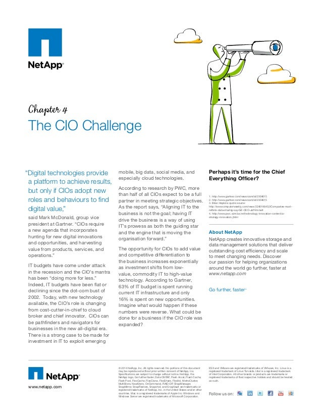 "Chapter 4 The CIO Challenge said Mark McDonald, group vice president at Gartner. ""CIOs require a new agenda that incorpora..."