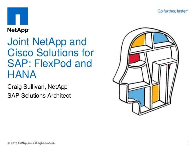 Joint NetApp and Cisco Solutions for SAP: FlexPod and HANA Craig Sullivan, NetApp SAP Solutions Architect  1
