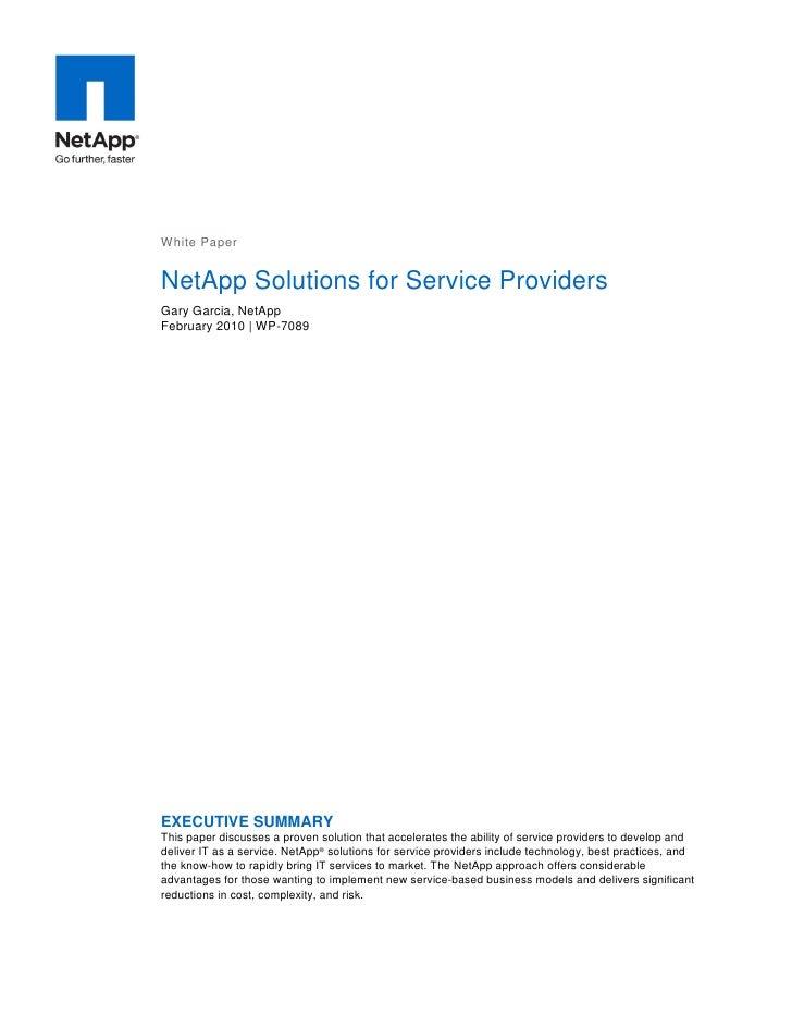 NetApp Solutions For Service Providers