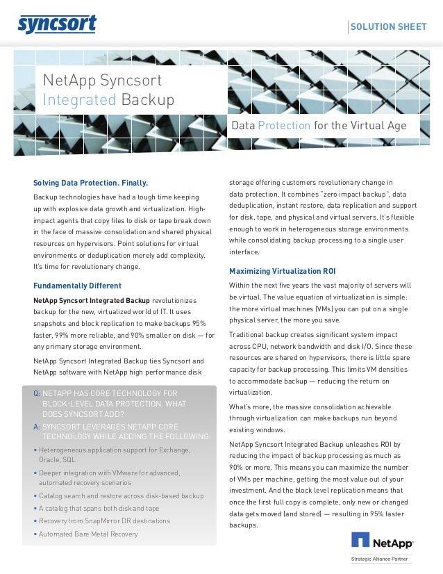 Net App Syncsort Integrated Backup Solution Sheet