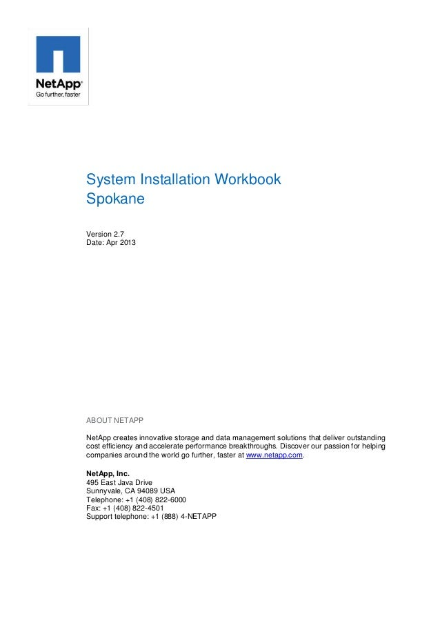 NetApp system installation workbook Spokane