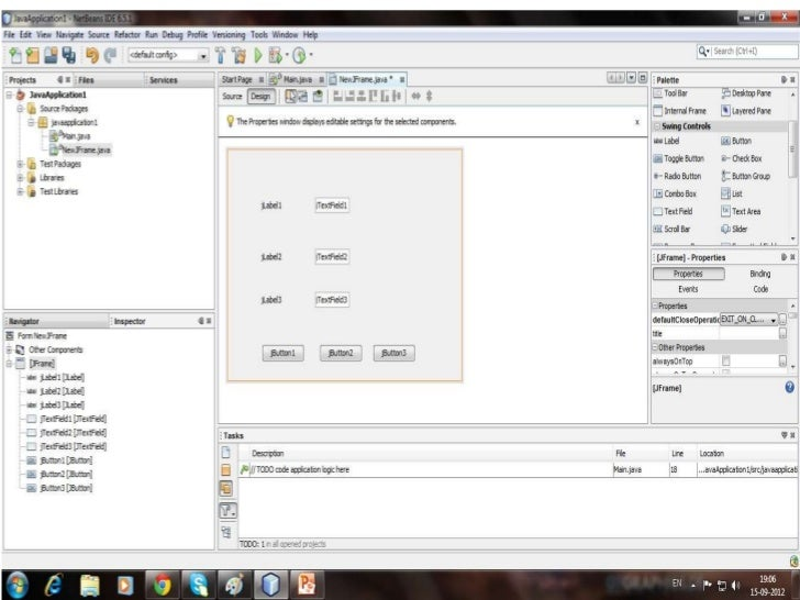 Coding• Double click the exit button and type the  following code as it is: System.exit(0);• Then double click the clear b...
