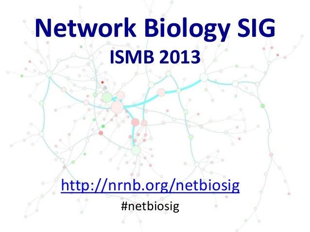 Network Biology SIG ISMB 2013 http://nrnb.org/netbiosig #netbiosig
