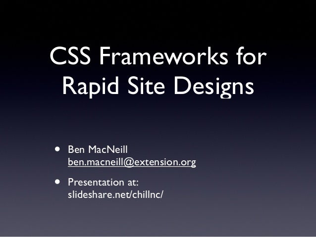 CSS Frameworks for Rapid Site Designs