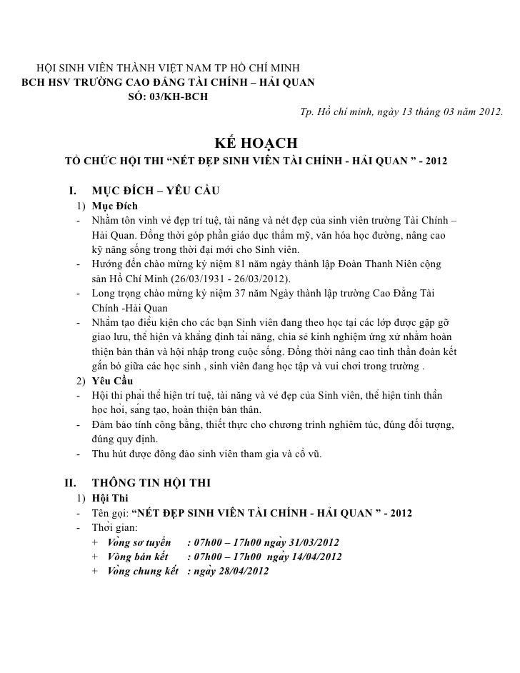 HỘI SINH VIÊN THÀNH VIỆT NAM TP HỒ CHÍ MINHBCH HSV TRƯỜNG CAO ĐẲNG TÀI CHÍNH – HẢI QUAN                  SỐ: 03/KH-BCH    ...